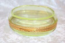 TS Gilded and Polished Vaseline Jewelry Casket or Glass Trinket Box!  Mint