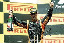Romain GROSJEAN SIGNED LOTUS F1 Autograph 12x8 Podium Photo AFTAL COA
