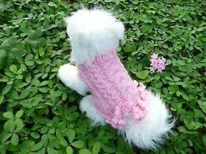 XXS  handmade knit Pink dog sweater dress