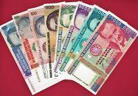 EIGHT PERU UNC BANKNOTES: 10, 50, 100, 500, 1,000, 5,000, 10,000 & 50,000 INTIS