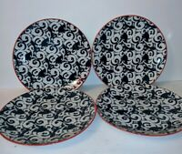 "4 Pieta Blue By Better Homes And Gardens Salad Plates 8 1/2"" Porcelain"