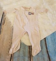 Gerber 3-6 Months Onesie Tan Striped Lion Bear Footie Pajamas Pjs Outfit Cute
