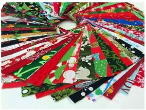 """Christmas Cotton Fabric Decor Charm Pack Lot 100 5"""" SQUARES Quilting Pre-Cut"""