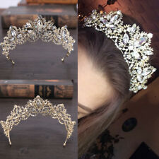 Wedding Baroque Luxury Crystal AB Bridal Crown Tiaras Light Gold DiademTiara`