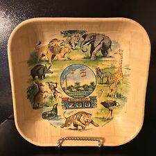 Vintage San Diego Zoo Hand Woven Bamboo Square Bowl Novelty Souvenir