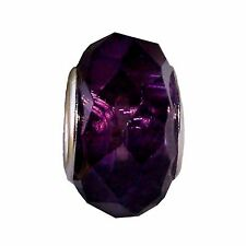 Dark Purple Faceted Crystal Murano Glass Bead fits European Charm Bracelets