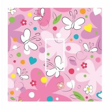 Cute PINK Kids Butterfly & Flowers Light Switch Vinyl Sticker Cover Skin Decal