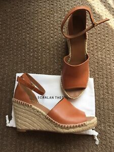 Scanlan & Theodore Ines Espadrille Leather Wedge Sandal heels Shoes 39
