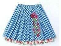 Matilda Jane DUTCH APPLE Skirt Womens Medium Blue Check Embroidered Ruffle trim