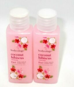 2 BODYCOLOGY  2in1 Body Wash/Bubble Bath COCONUT HIBISCUS Sweet Coconut/Hibiscus