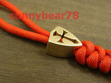 Cross shield  pure brass Parachute Cord Knife Tool Lanyard Bead knife pendant