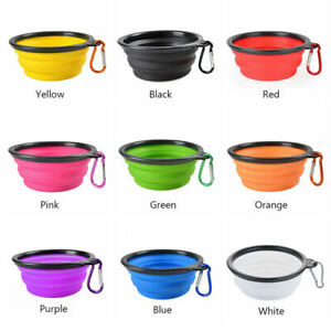 Pet Dog Water Feeding Bowl Silicone Travel Camp Play Disc Portable Collapsible