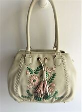 ISABELLA FIORE New Ivory Leather Shoulder Bag W/Leather Floral Embellishments
