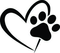 PAW HEART WINDOW DECAL STICKER DOG CAT PET LOVE