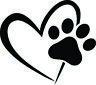 PAW HEART WINDOW DECAL STICKER DOG CAT PET LOVE