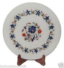 "9""x9"" Marble Serving Plate Precious Inlay Pietradura Floral Table Decor H1280"