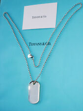 Tiffany & Co Sterling Silver Mens Coin Edge Makers I.D Tag Necklace 20 Inch