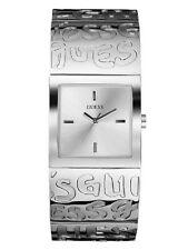 NEW AUTHENTIC GUESS Watch, WomenGraffiti Silvertone Bangle Bracelet U85105L1