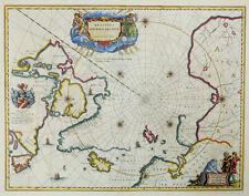 REGIONES SUB POLO arctico POLO NORD CARTA Blaeu STEMMA CARTUCCIA Eschimese Inuit 1645