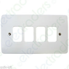 4 Gang Surface MOULDED Frontplate MK K3634 Whi Grid Plus White 4g Switchplate