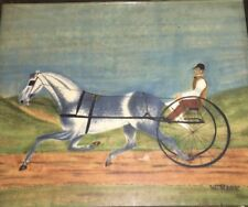 ORIGINAL William Bill Rank 1921-2000 Harness Racing Painting STAMPED ON BACK
