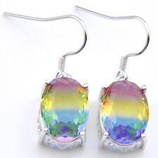 Handmade Jewelry Woman Bi Color Tourmaline Gemstone Silver Dangle Hook Earrings
