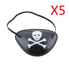 5Pcs Black Plastic Pirate Skeleton Eye Patch Halloween Costume Party Supplies