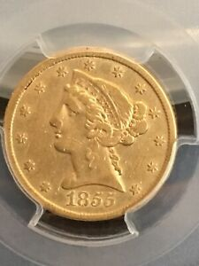 1855-S Liberty Gold Half Eagle $5 Coin - Certified PCGS VF35 - Rare