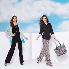 IMAN Black Global Chic Luxury Resort Palazzo Pants Set of 2 Printed& Black Small