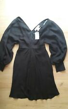BNWT Paul & Joe Paris 100% Silk Black Dress Low Cut Size 36 UK 6 XS RRP £699