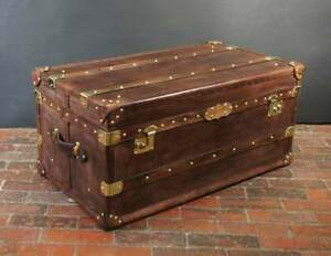 Antique Handmade English Tan Leather Coffee Chest Coffee Table Trunk Box TE