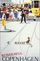 Home Wall Art Print - Vintage Travel Poster - WONDERFUL COPENHAGEN - A4,A3,A2,A1