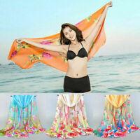 Women Long Soft Chiffon Floral Scarf Wrap Shawl Scarf Stole Scarves Bandana Gift