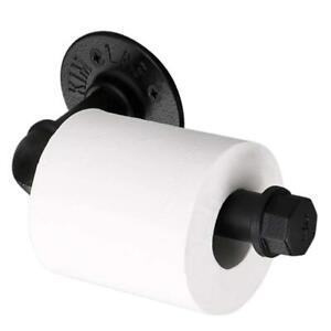 Vintage Industrial Pipe Toilet Paper Holder Wall Mounted Roll Bathroom Black