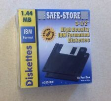 "Free Shipping Safe-Store 3 ½"" 1.44MB High Density Floppy Diskettes 10 Pack NIB"