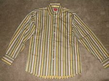 Report Collection Button Shirt - Brown Striped - Mens Size Medium