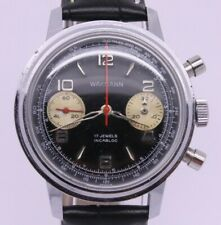 VINTAGE Wakmann Mens 37mm Steel Back Chronograph Watch Black Dial Valjoux 7733
