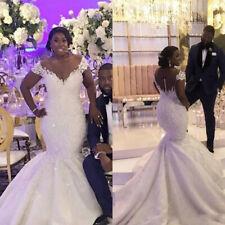 African Bride Mermaid Wedding Dresses Off Shoulder Lace V-Neck Long Train Gowns