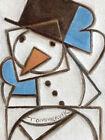 TOMMERVIK BUILDING A SNOWMAN ART SNOW CUBIST WALL ARTWORK SNOWMAN PAINTING