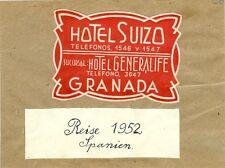 Schöne große Vignette Hotel Suizo Generalife Granada Spanien 1952 Reklame