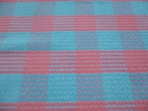 "Vintage Turquoise/Pink Seersucker Tablecloth 68""x48""."
