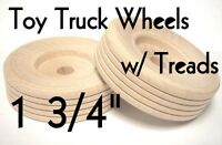 "1 3/4"" Wood Truck Wheels w/ Wooden Treads ~ Toy Parts ~ Lot of 12 to 100 by PLD"