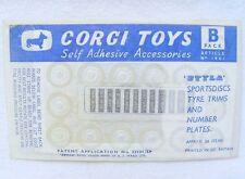 Corgi Toys 1:43 SPORTSDISCS TYRE TRIMS SELF ADHESIVE ACCESSORIES Car Set MIB`59!