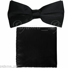 Black Men's Solid Straight Cut Bow tie And Pocket Square Hanky Wedding Prom10-B