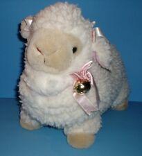 "Cute Cuddly Belled Lamb Ewe Sheep Stuffed Animal Enesco Plush Soft Woolly 13"" H"