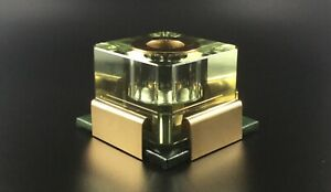 1900 Vintage Heirloom Glass Inkwell - Tinted Green & Gold w/ Base