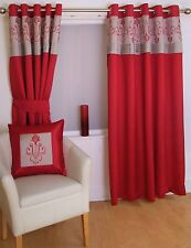 "FAUX SILK EMBROIDERED RED 90X90"" 229X229CM LINED RING TOP EYELET CURTAINS"