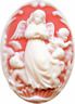 Carnelian and White Angel & Cherubs Cameo 25x18mm Resin Flatback Cabochon 1pc