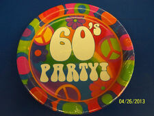 "60's Decades Hippie Woodstock Groovy Retro Theme Birthday Party 9"" Dinner Plates"