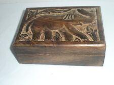 "Elephant Carved Wood Box - 7"" by 5"" - Tarot/Jewelry"